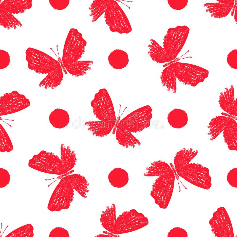 Teste padr?o monocrom?tico vermelho do grunge sem emenda com borboletas ilustração royalty free