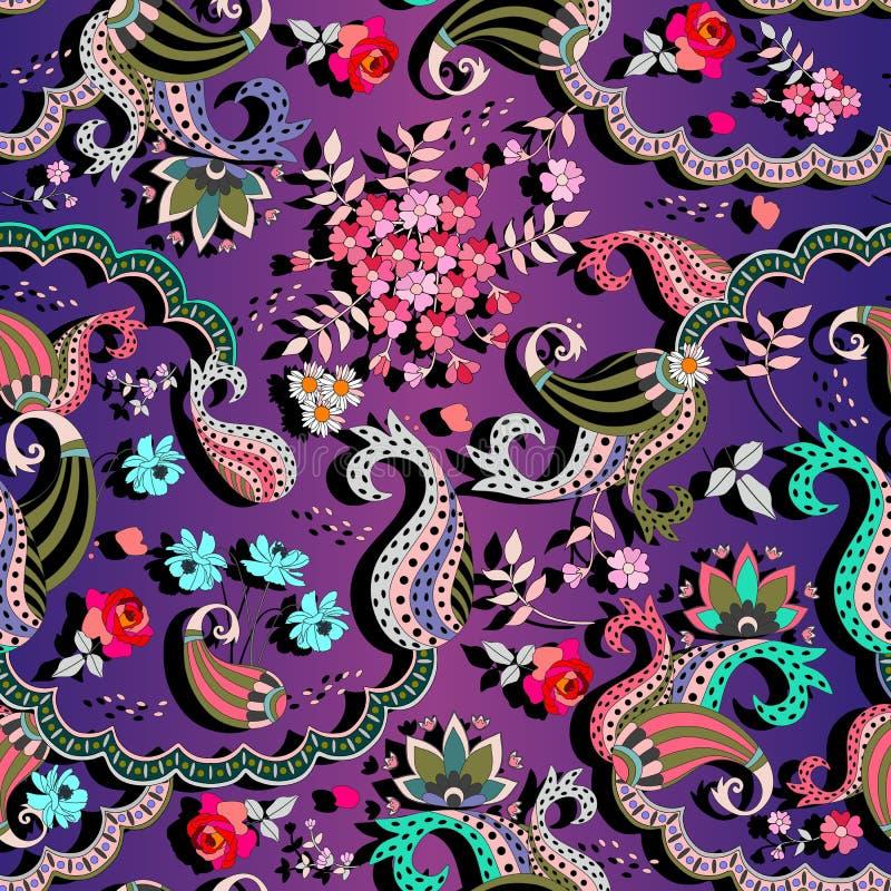 Teste padrão multicolorido brilhante do vetor no estilo indiano Ornamento de Paisley, folhas e flores do jardim no fundo lilás do ilustração stock