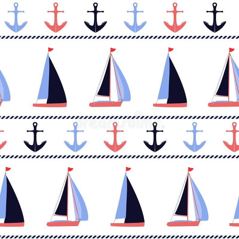 Teste padrão náutico do vetor das âncoras e dos veleiros ilustração royalty free