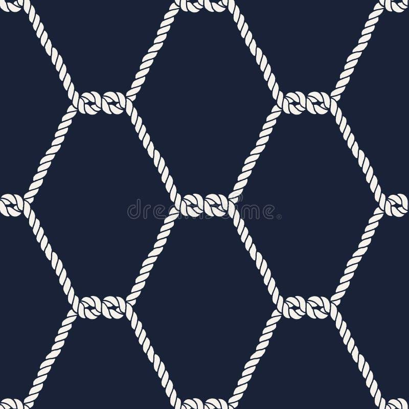 Teste padrão náutico sem emenda da corda - meios nós ilustração stock