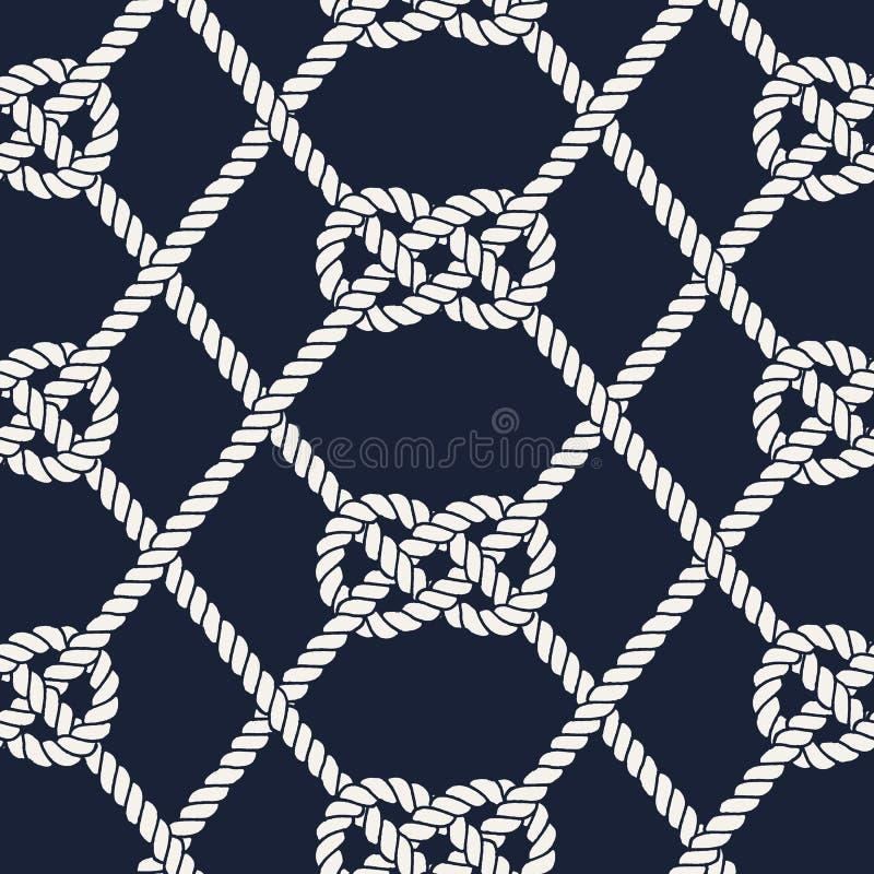 Teste padrão náutico sem emenda da corda Nó de Carrick Bend ilustração do vetor