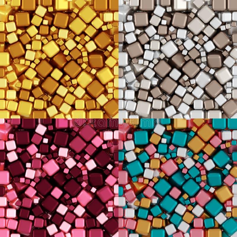 Teste padrão Não-sem emenda de papel do envolvimento de Amber Yellow Beige Gray Burgundy Rose Cakes Pink Breeze Colors, colagem d ilustração royalty free