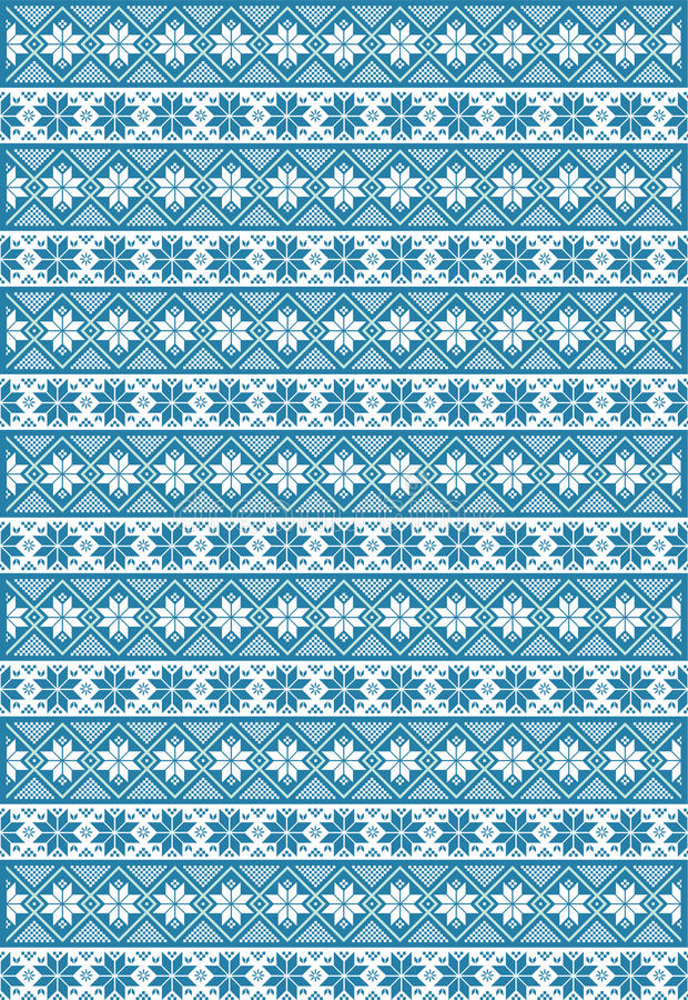 Teste padrão nórdico azul fotos de stock royalty free