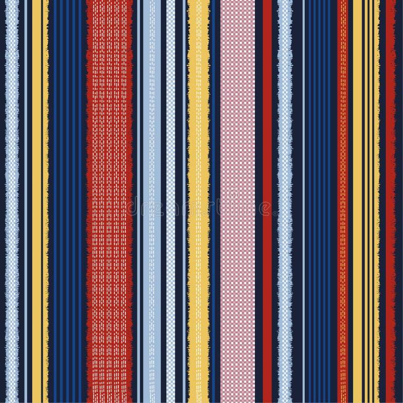 Teste padrão na moda colorido das listras verticais para o projeto de matéria têxtil teste padrão sem emenda no projeto do vetor  ilustração do vetor