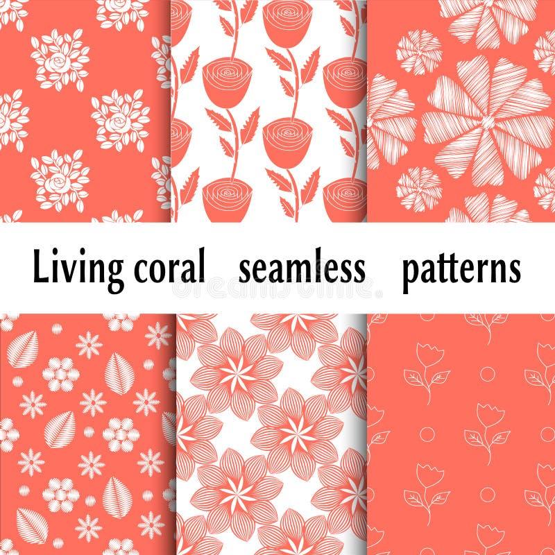 Teste padrão na moda com testes padrões floristic corais de vida para o projeto da bandeira Cor coral de vida 2019 do pantone Flo ilustração royalty free