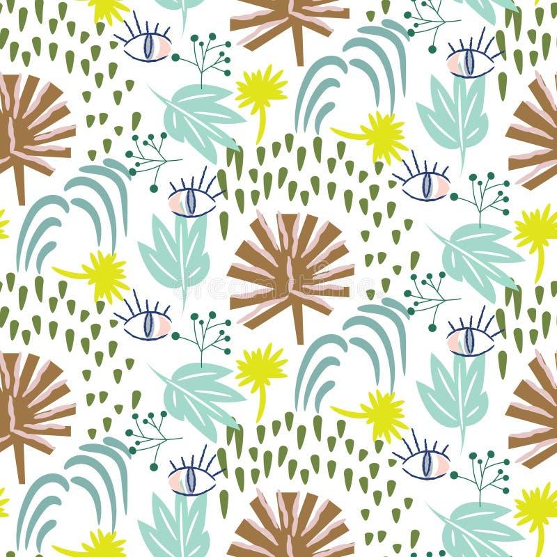 Teste padrão na moda da flora do vetor sem emenda da floresta úmida do sumário ilustração stock