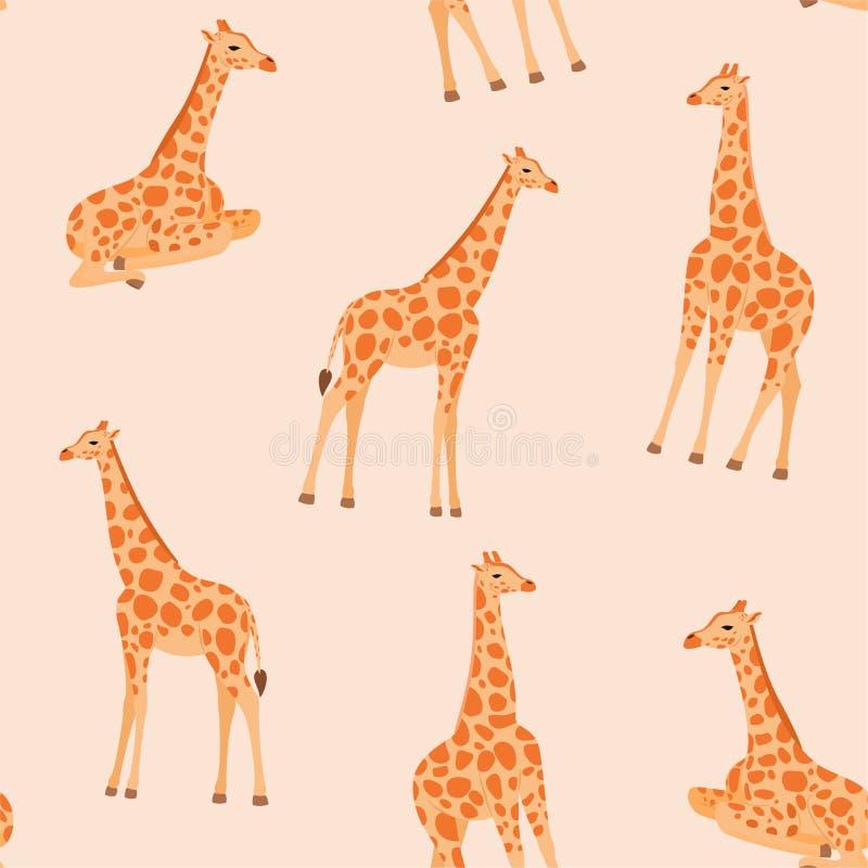 Teste padrão na moda do girafa Textura sem emenda do vetor ilustração royalty free