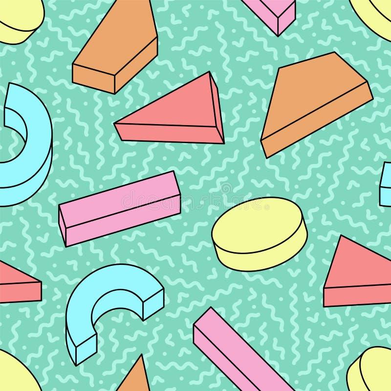Teste padr?o na moda sem emenda com formas 3d geom?tricas coloridas - projeto brilhante do vetor de memphis Estilo retro 80-90s d ilustração royalty free