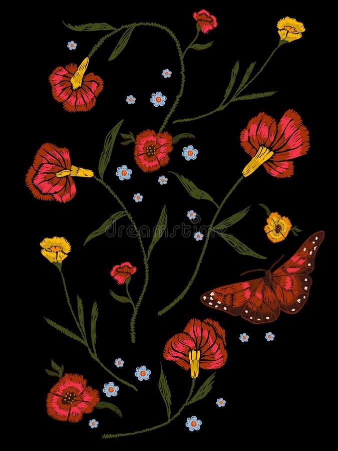 Teste padrão nativo do bordado com papoilas e borboleta ilustração do vetor