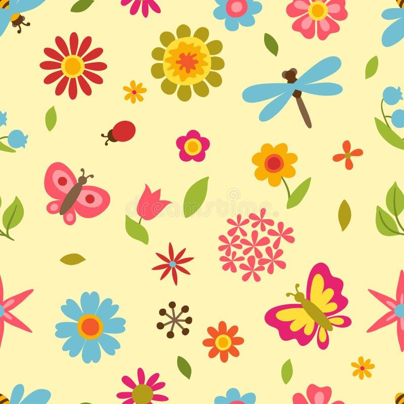 Teste padrão natural com flores bonitas, besouros ilustração stock