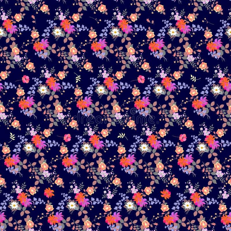 Teste padrão natural ditsy sem emenda do outono Grupos de flores do jardim em escuro - fundo azul ilustração royalty free