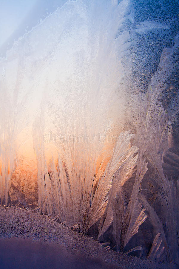 Teste padrão natural gelado e luz solar fotografia de stock