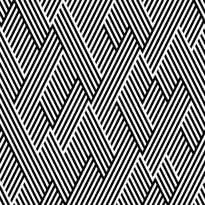 Teste padrão no ziguezague com a linha preto e branco ilustração royalty free