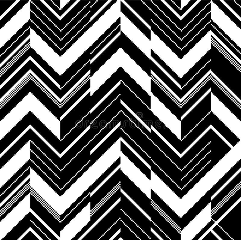 Teste padrão no ziguezague - preto e branco ilustração do vetor
