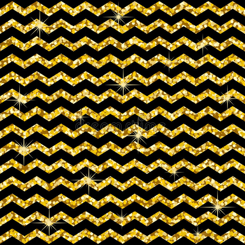 Teste padrão no ziguezague Teste padrão clássico do brilho do ouro da viga Círculos dourados Textura geométrica abstrata Decoraçã ilustração stock