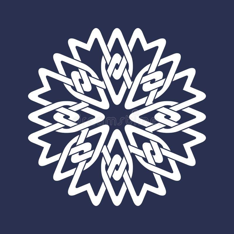 Teste padrão oito circular aguçado em linhas estilo de cruzamento orientais A mandala branca nos flocos de neve forma no fundo az ilustração stock