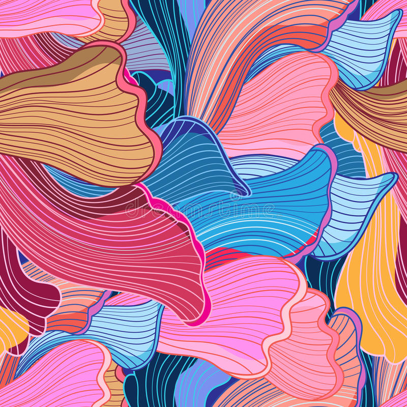 Teste padrão ondulado abstrato brilhante sem emenda ilustração do vetor