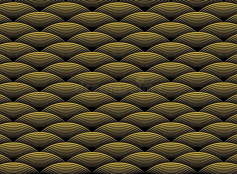 Teste padrão ondulado dourado luxuoso do projeto do sumário no fundo preto do art deco Vetor eps10 da ilustra??o ilustração royalty free