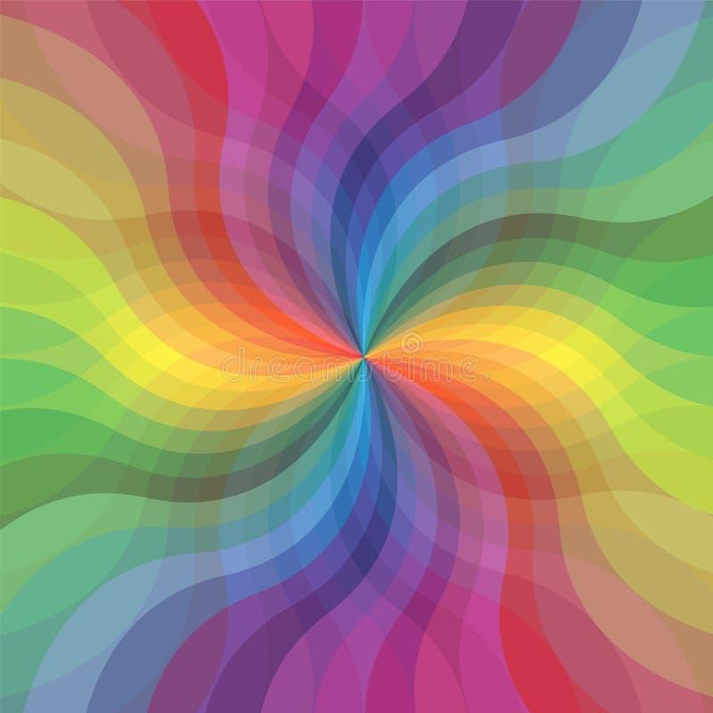 Teste padrão ondulado transparente das listras do arco-íris Listras de expansão que correm do centro Flor abstrata ilustração royalty free