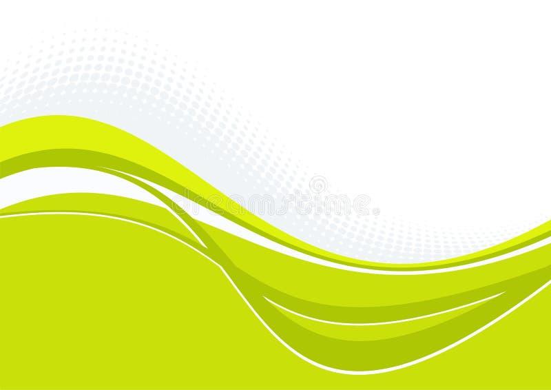 Teste padrão ondulado verde com curvas ilustração stock