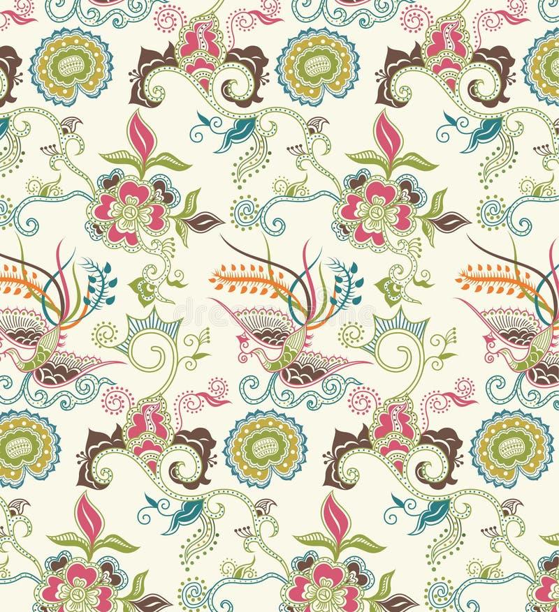 Teste padrão oriental 1 floral e do pássaro ilustração do vetor