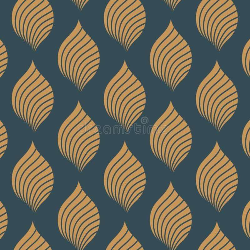 Teste padrão oriental bonito da flor de lótus abstrata e da beira decorativa verde Ilustração do vetor ilustração stock