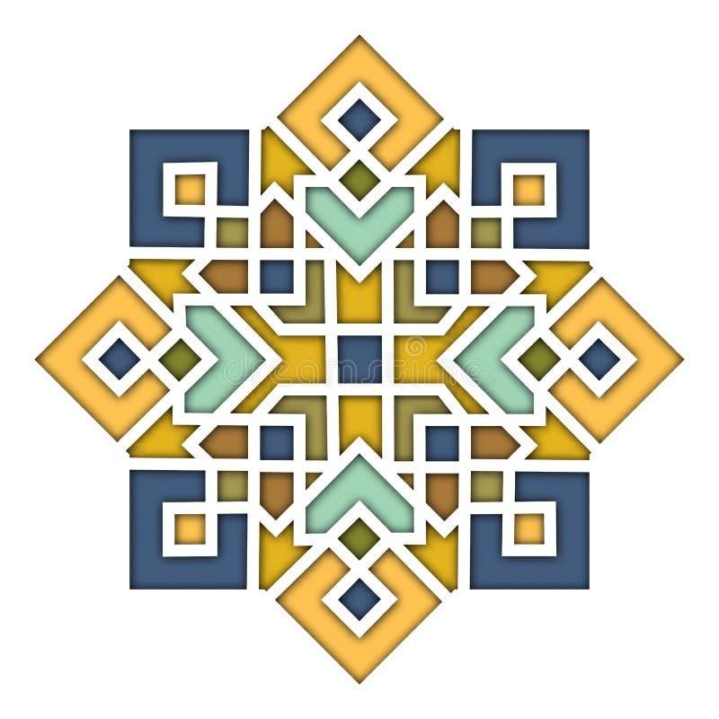 Teste padrão oriental do Arabesque, vinheta no estilo islâmico, vidro colorido colorido oriental Ilustração para o eid Mubarak ilustração royalty free