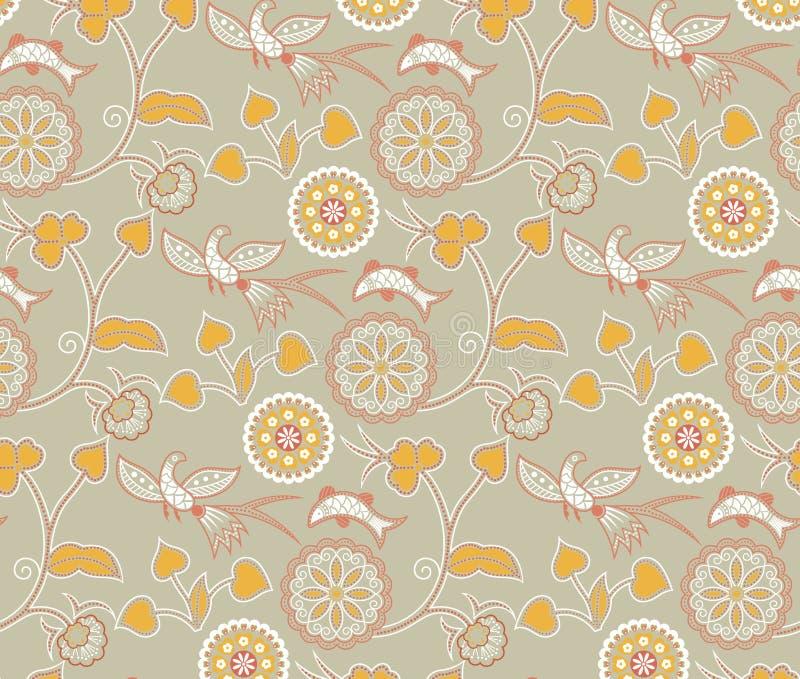 Teste padrão oriental floral e dos pássaros ilustração royalty free
