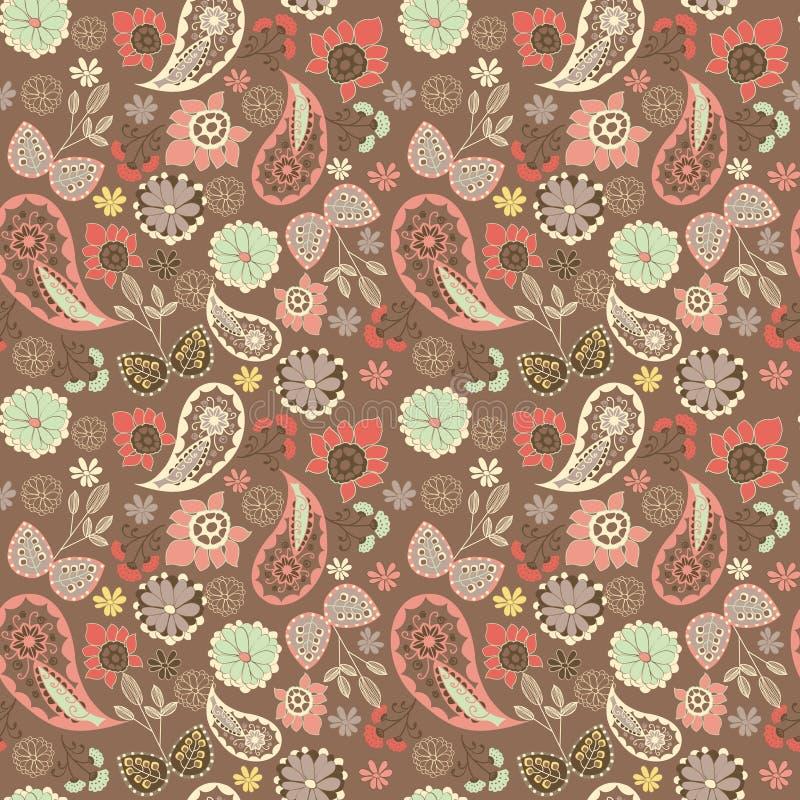 Teste padrão oriental gráfico bonito de paisley com flores ilustração do vetor