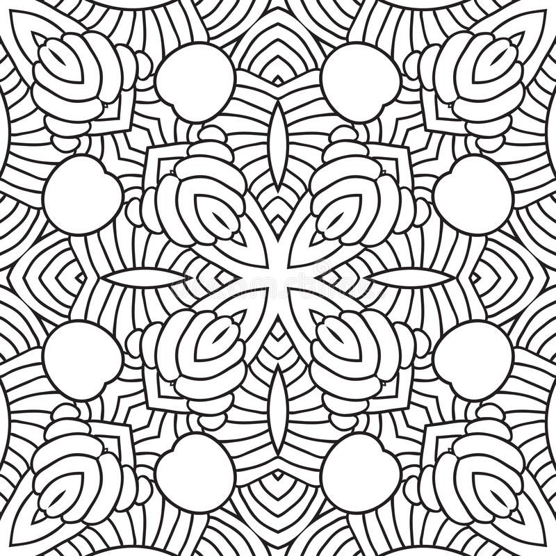 Teste padrão oriental preto e branco ilustração stock