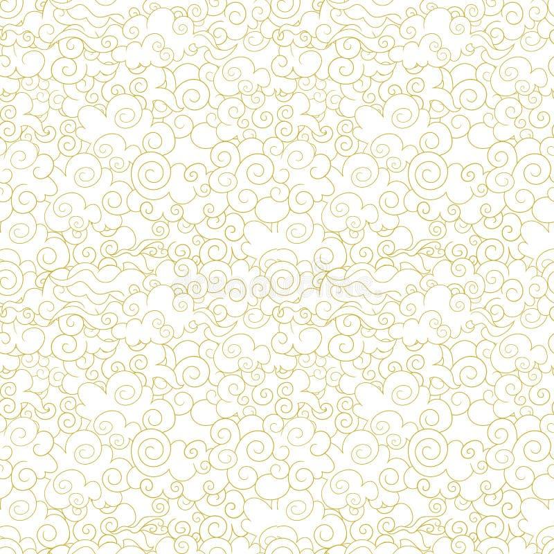 Teste padrão oriental sem emenda do vetor, nuvens decorativas, fundo abstrato das formas de onda, linhas douradas ilustração do vetor