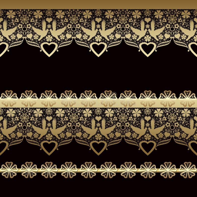 Teste padrão oriental sem emenda dourado do laço no preto ilustração do vetor