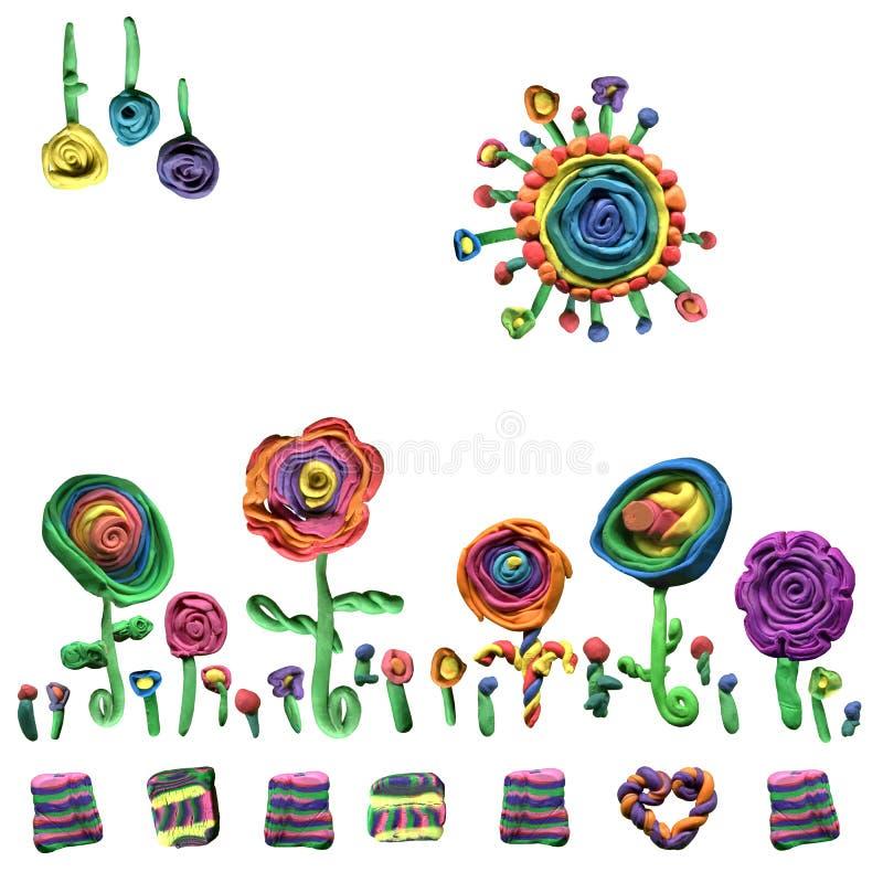 Teste padrão original da beleza de elementos florais do plasticine das ferramentas para fazer o papel de pano ou de presente imagens de stock
