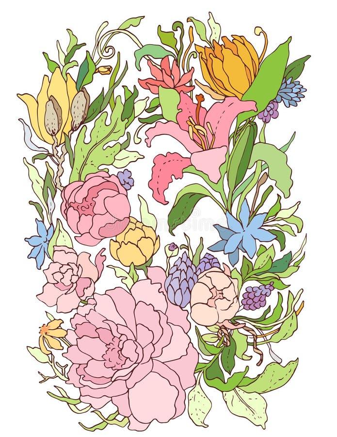 Teste padrão ornamentado floral ilustração stock