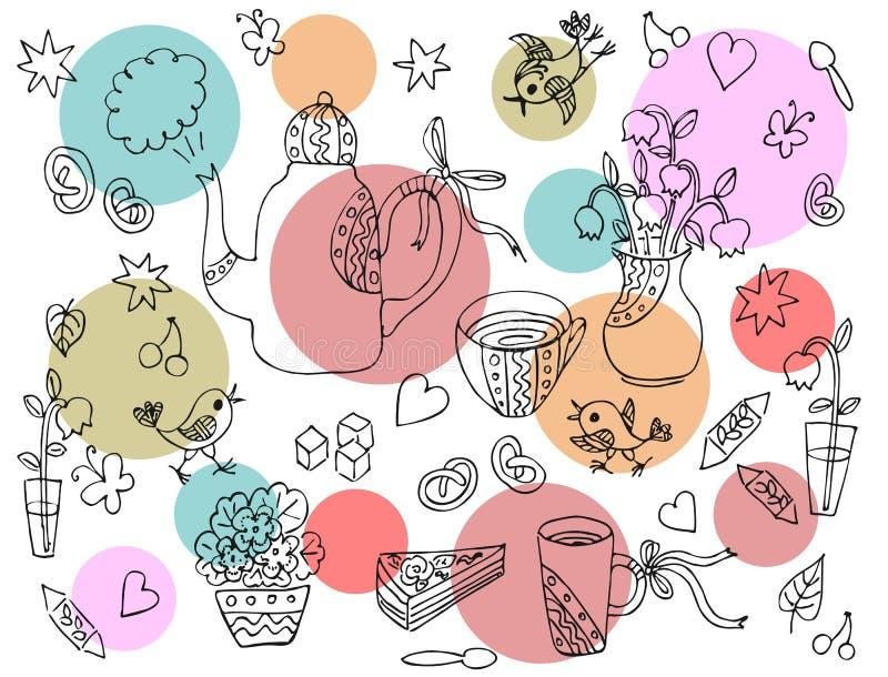 Teste padrão para a bandeja ou a toalha de mesa Cartão bonito com elementos tirados mão para o tea party ilustração royalty free