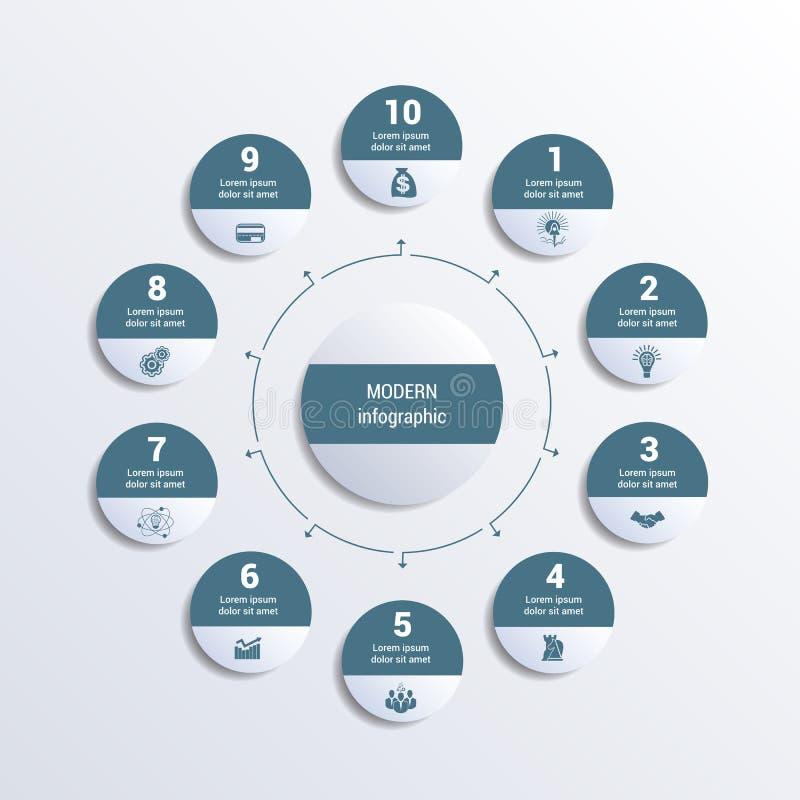Teste padrão para a imagem monocromática infographic do vetor de 10 posições dos círculos no círculo ilustração stock