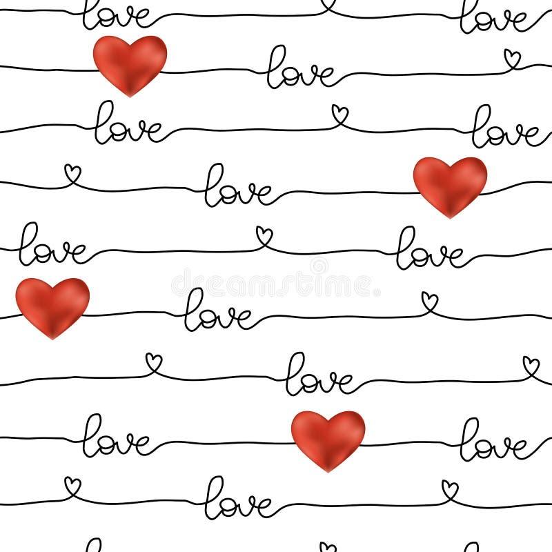 Teste padrão para a linha simples do dia de Valentim sem emenda ilustração royalty free