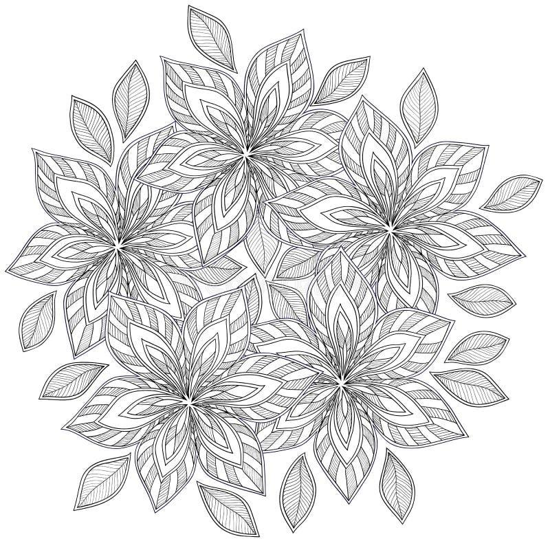 Teste padrão para o livro para colorir Étnico, floral, retro, garatuja, vetor, elemento tribal do projeto ilustração do vetor
