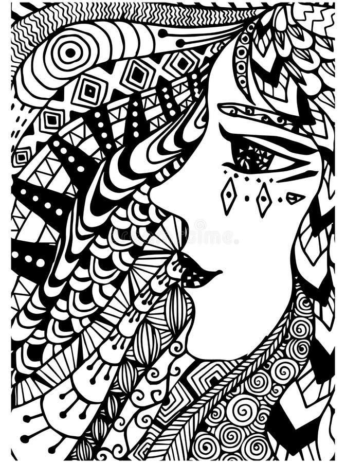 Teste padrão para o livro para colorir Étnico, mulher, retro, garatuja, elemento tribal do projeto Fundo preto e branco ilustração royalty free