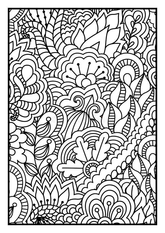 Teste padrão para o livro para colorir Fundo preto e branco com floral, étnico, elementos tirados mão para o projeto ilustração royalty free