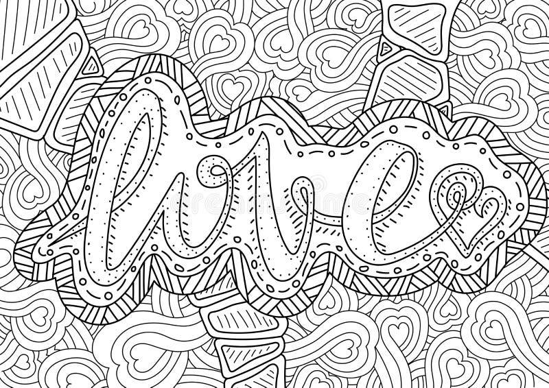 Teste padrão para o livro para colorir Projeto retro étnico ilustração do vetor