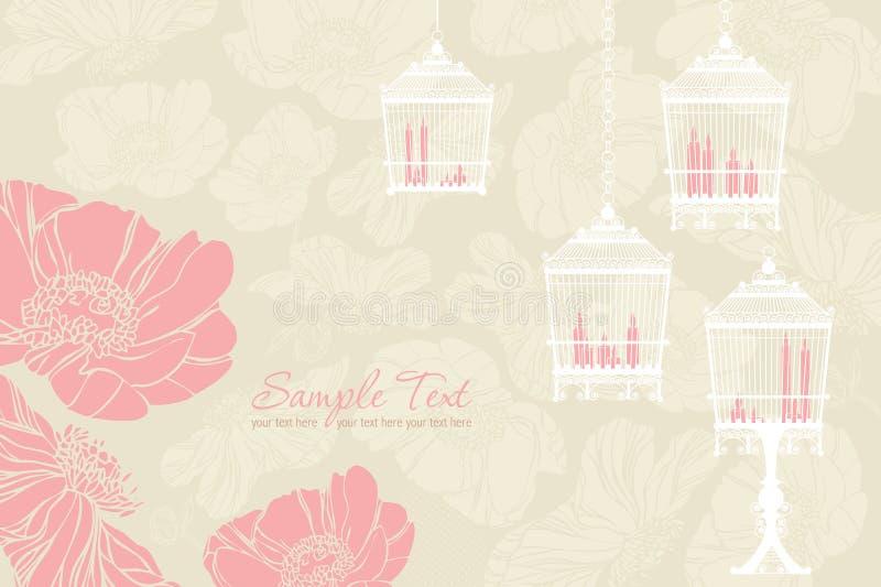 Teste padrão para wedding com birdcage ilustração stock