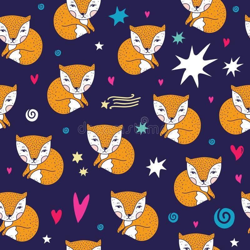 Teste padrão pequeno bonito das raposas do vetor Isolado no fundo branco ilustração do vetor