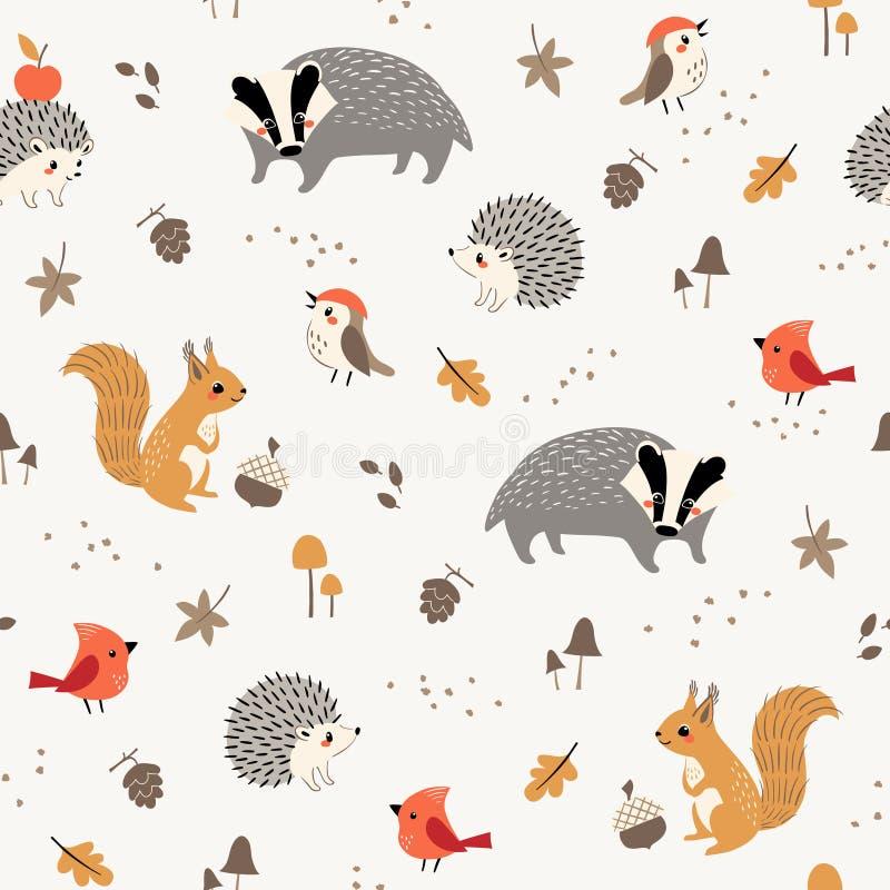 Teste padrão pequeno bonito dos animais e dos pássaros da floresta ilustração do vetor