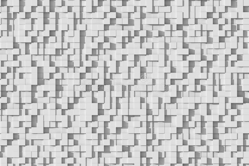 Teste padrão pequeno geométrico branco ou cinzento abstrato do projeto do fundo do cubo 3d na luz de Sun ilustração royalty free