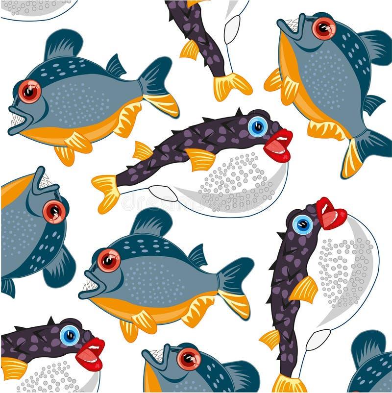Teste padrão perigoso e venenoso dos peixes do rio e de mar ilustração stock