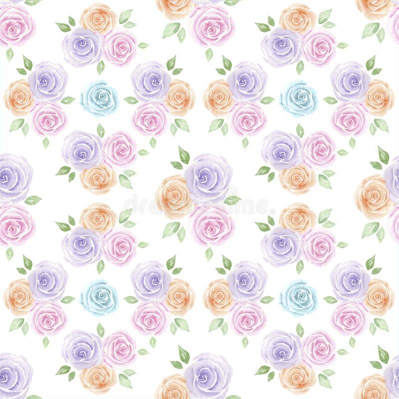 Teste padrão pintado à mão das rosas ilustração do vetor