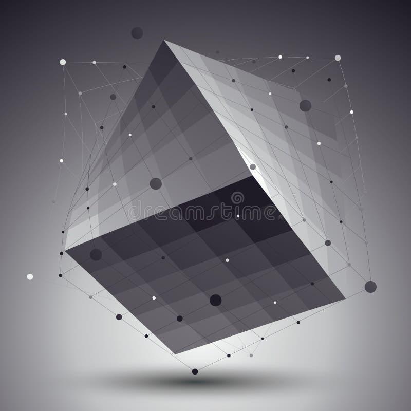 Teste padrão poligonal da rede do vetor da estrutura 3D abstrata, grayscal ilustração stock