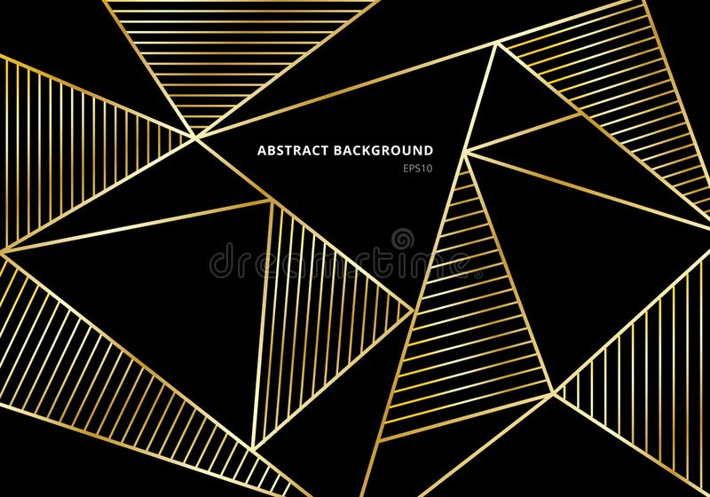 Teste padrão poligonal do ouro luxuoso abstrato no fundo preto Molde bonito com geométrica dourado e linha decoração ilustração stock