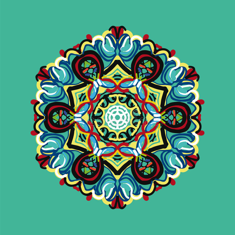Teste padrão poligonal no estilo oriental com lotes do elemento colorido foto de stock